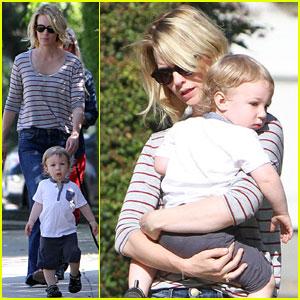 January Jones: Xander Walks in Front of Mommy!