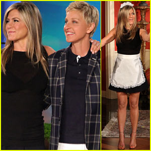 Jennifer Aniston Wears Maids Outfit, Talks 'Friends' Reunion on 'Ellen'