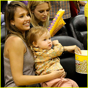 Jessica Alba & Cash Warren Attend L.A. Sparks Game with the Kids
