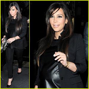 Kim Kardashian: Pregnant Leather Lady at Beyonce Concert!