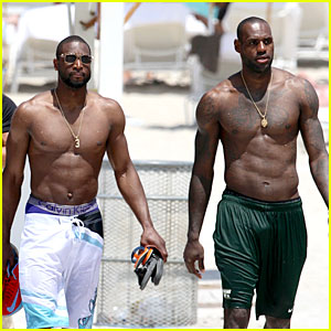 LeBron James & Dwyane Wade: Shirtless Miami Men!