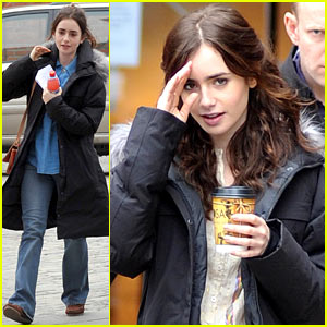 Lily Collins: Makeup Free on 'Love, Rosie' Set!