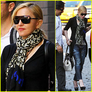 Madonna's Driver Helps Her Walk on Cobblestone Street!