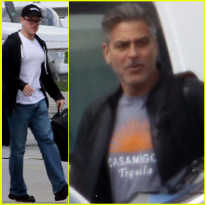 Matt Damon & George Clooney: Swiss Flight Buddies