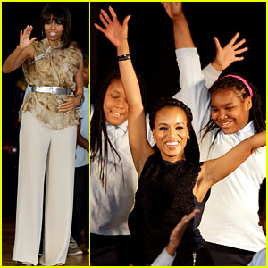 Michelle Obama & Kerry Washington Exercise with Savoy School Students!
