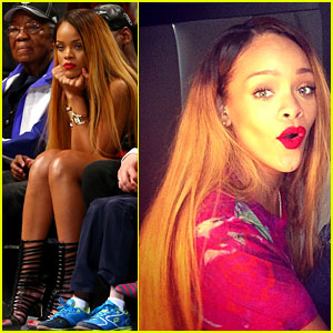 Rihanna Flaunts New Long & Two-Toned Hair at Nets Game!