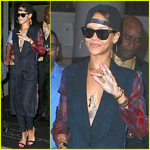 Rihanna: Plunging Plaid Shirt!
