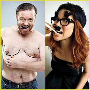 Shirtless Ricky Gervais & Ellie Kemper: 'GQ' Comedy Features!