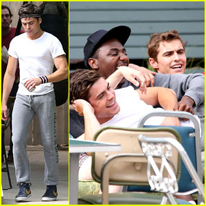 Zac Efron Lays in Dave Franco's Lap on 'Townies' Set