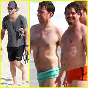 Zach Galifianakis & Ed Helms: Shirtless Beach Day with Bradley Cooper!
