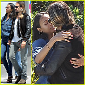 Zoe Saldana & Marco Perego Kiss, Hold Hands in Italy