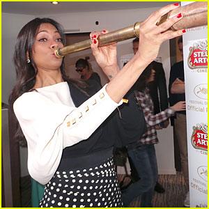 Zoe Saldana Trumpets Stella Artois (Exclusive)