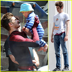 Andrew Garfield Plays with Kids on 'Amazing Spider-Man 2' Set