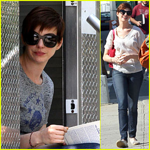 Anne Hathaway: 'Song One' Book Worm!