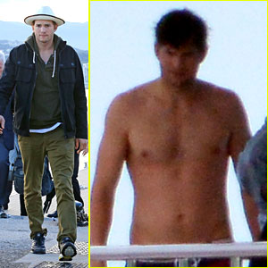Ashton Kutcher Disembarks After Shirtless Yacht Trip