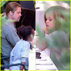 Brad Pitt: Japanese Meal in Spain with Zahara & Shiloh!