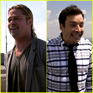 Brad Pitt & Jimmy Fallon Yodel on NYC Rooftops - Watch Now!