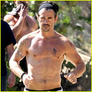 Colin Farrell: Shirtless Run in Hollywood!
