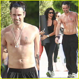 Colin Farrell: Shirtless Yoga with Sister Claudine!
