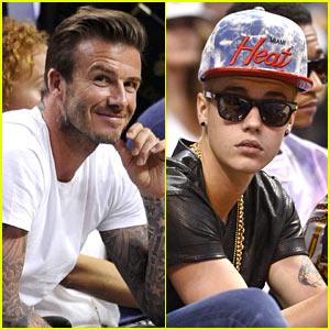 David Beckham & Justin Bieber: Courtside for Heat Basketball!
