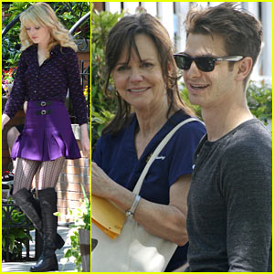 Emma Stone & Andrew Garfield Film 'Spider-Man' with Sally Field