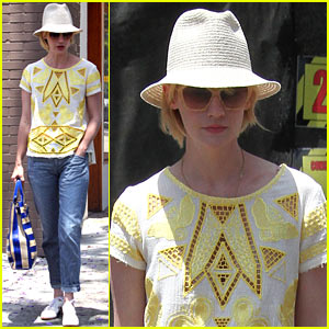 January Jones Hides New Hairdo Under a Hat!