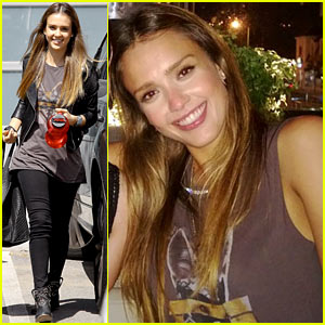 Jessica Alba: Biker Chic Before Girls Night Out!
