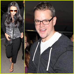 Matt Damon: LAX Arrival with Wife Luciana!