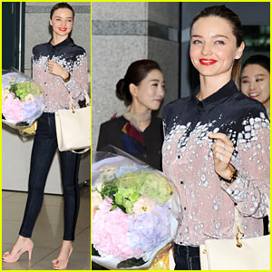 Miranda Kerr Receives Flowers Upon Arriving in South Korea!