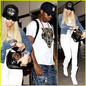 Nicki Minaj & Safaree Samuels: Denim LAX Arrival!