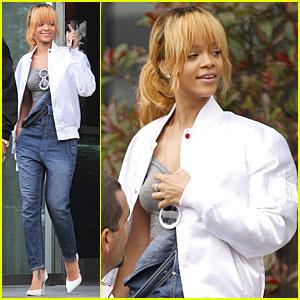 Rihanna: Denim Overalls Before Manchester Concert!