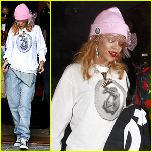 Rihanna: Pink Veiled Beanie Hat in Amsterdam!