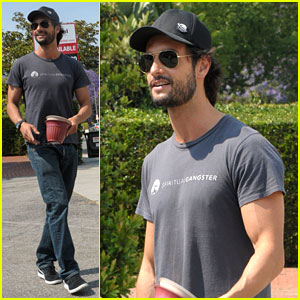 Rodrigo Santoro Buys Flower Pots on Melrose Avenue