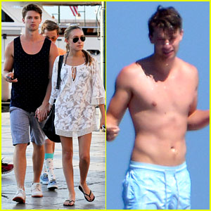 Patrick Schwarzenegger Goes Shirtless, Holds Hands with Taylor Burns in St. Tropez