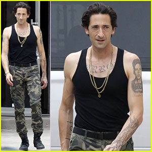 Adrien Brody Sports Fake Tattoos for 'American Heist'