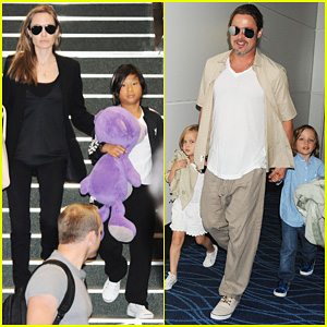 Angelina Jolie & Brad Pitt: Japan Exit with the Kids!