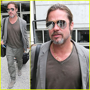 Brad Pitt: LAX Landing After France Trip!