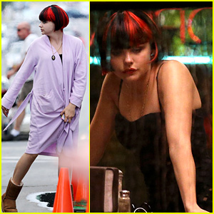 Chloe Moretz Wears Multi-Colored Wig for 'Equalizer' Filming
