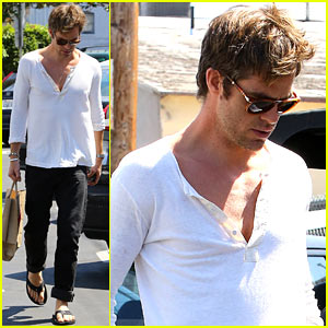 Chris Pine Shows Some Skin in Unbuttoned Henley Shirt!