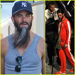 Chris Pine Sports Long Greying Beard for 'Stretch'!
