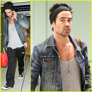Colin Farrell: Spiky Hair & Headband for LAX Look