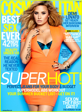 Demi Lovato Bares Bra for 'Cosmopolitan' August 2013
