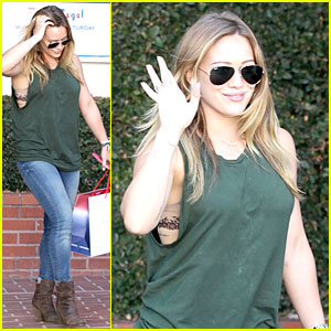 Hilary Duff Reveals Lace Bra at Fred Segal!