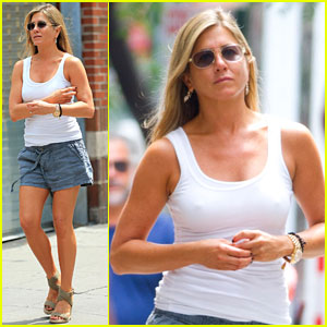 Jennifer Aniston Beats the Heat on 'Squirrels to the Nuts' Set
