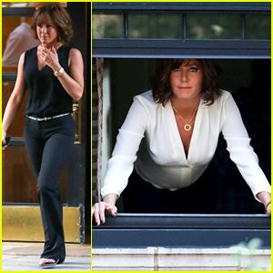 Jennifer Aniston Hangs Out NYC Window for 'Squirrels' Movie