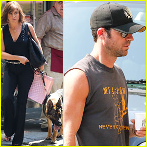 Jennifer Aniston Films with Dog, Gets Visit From Justin Theroux!