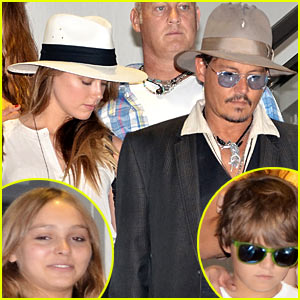 Johnny Depp & Amber Heard: Airport Arrival with Lily-Rose & Jack