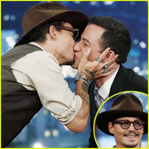 Johnny Depp Kisses Jimmy Kimmel During Talk Show Appearance (Video)