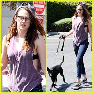 Kristen Stewart: Bra Revealing Walk with New Puppy!