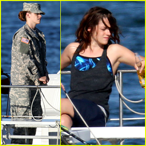 Kristen Stewart Wears Army Uniform, Relaxes with a Beer